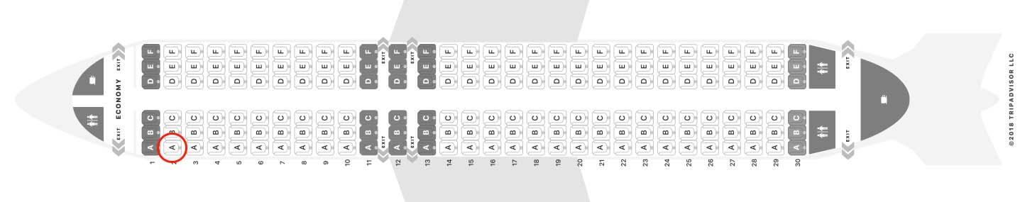 Scoot Airlines A320 seat map