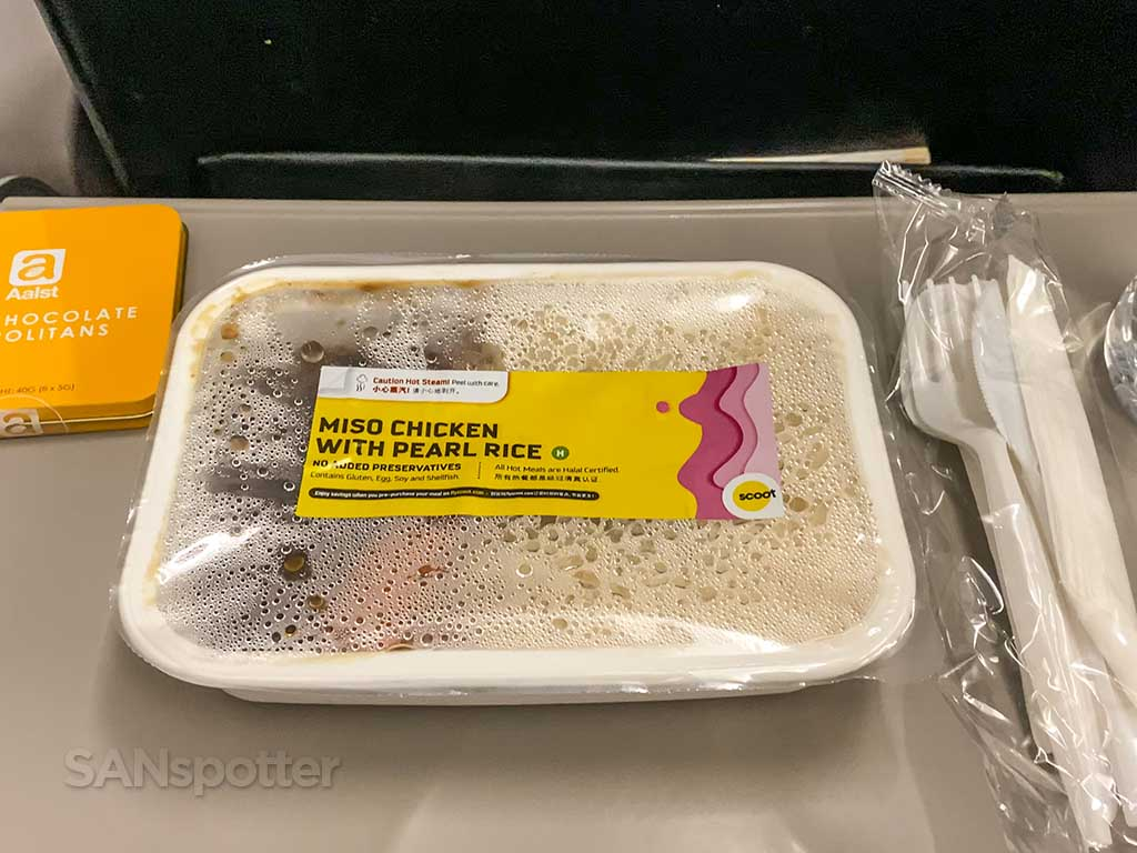 Scoot Airlines Miso chicken and pearl rice