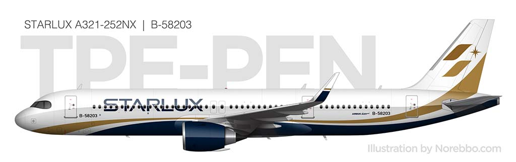 Starlux Airlines A321 side view