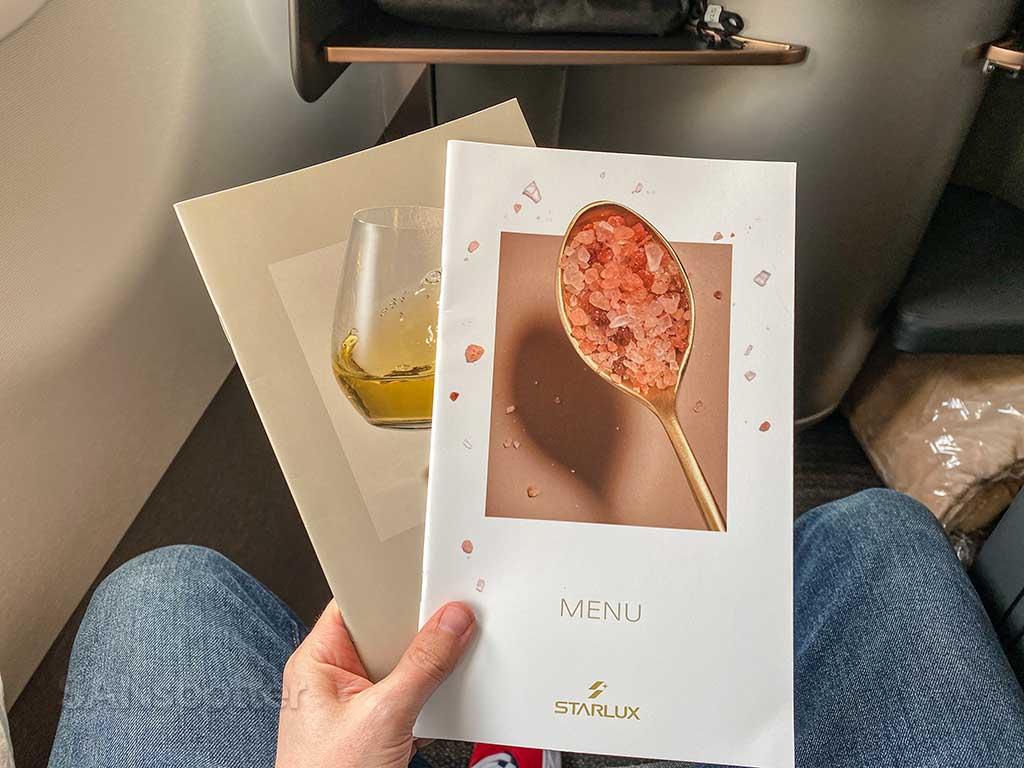 Starlux Airlines business class menu