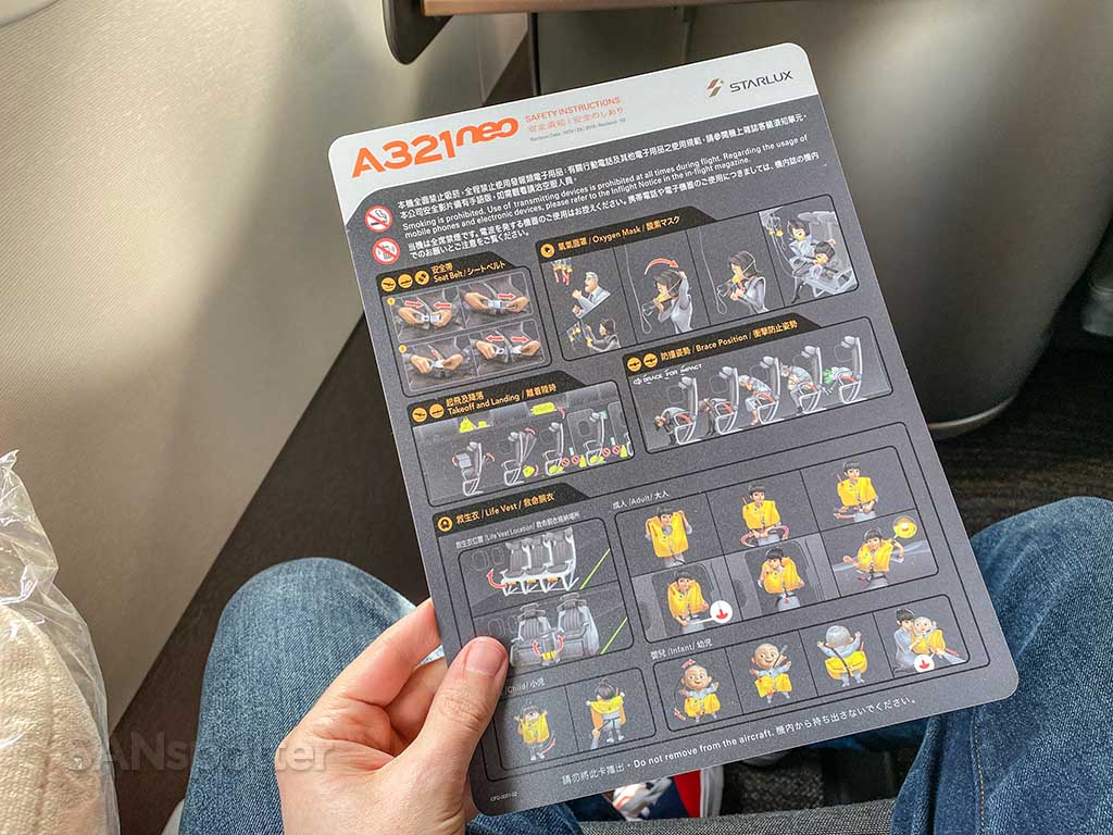 Starlux Airlines A321neo safety card