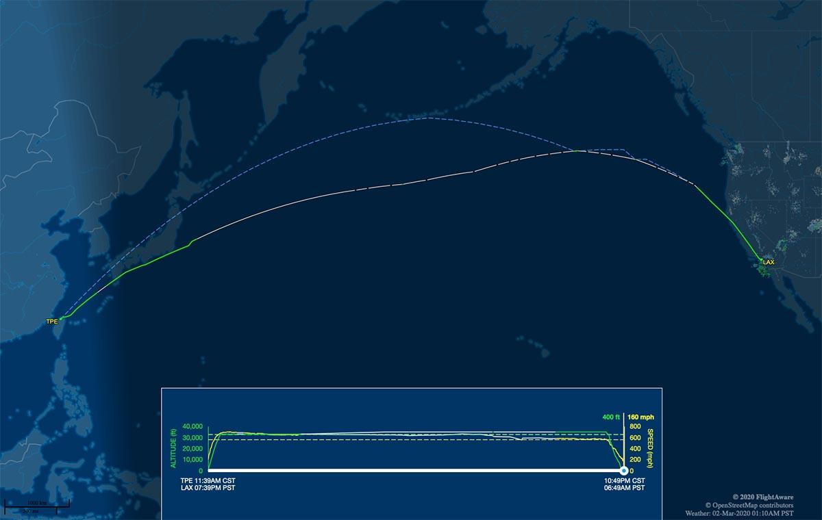 BR006 flight track