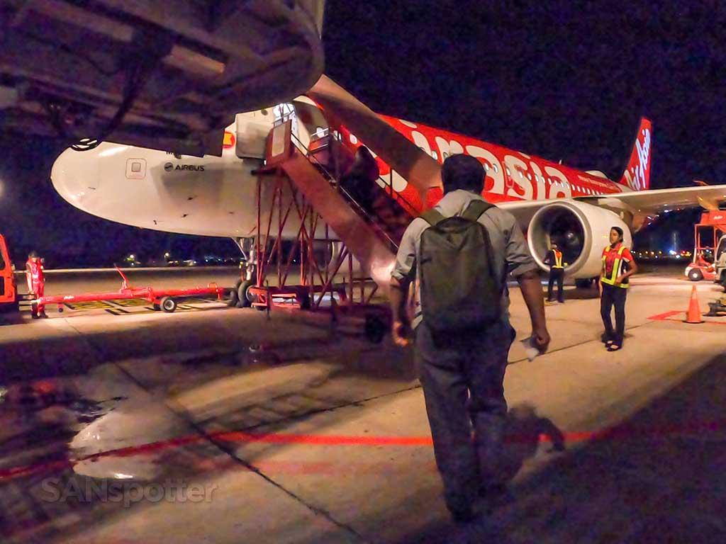 boarding AirAsia A320 air stairs