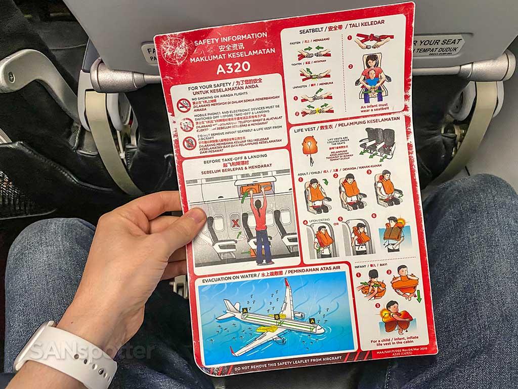 AirAsia A320 safety card