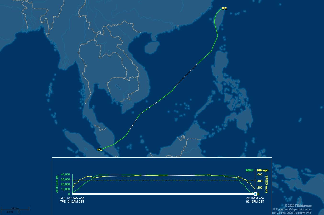 airasia x 372 flight track