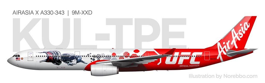 AirAsia A330-300 UFC livery side view 9M-XXD