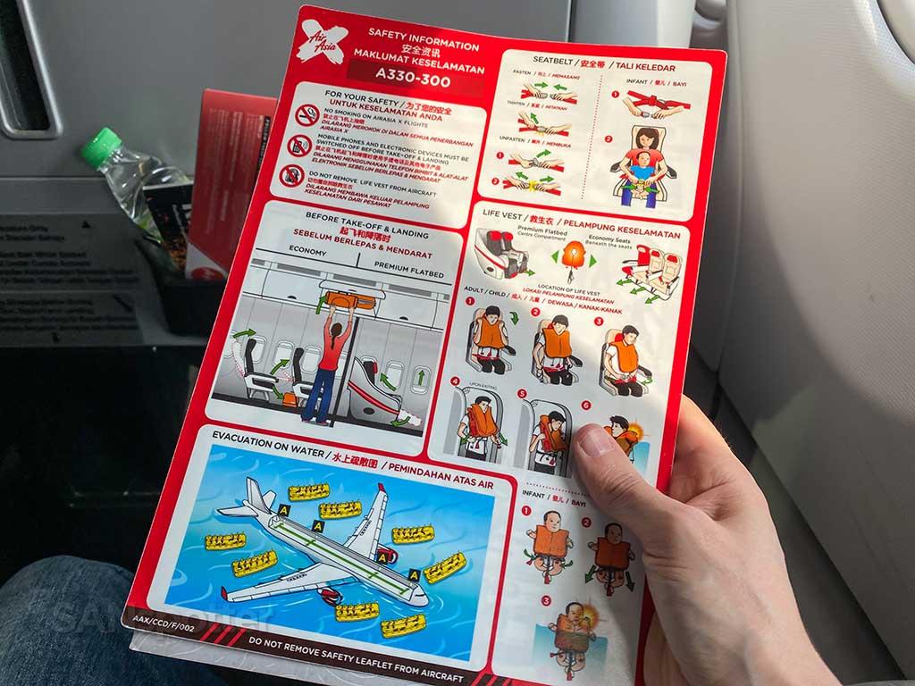 AirAsia X A330-300 safety card