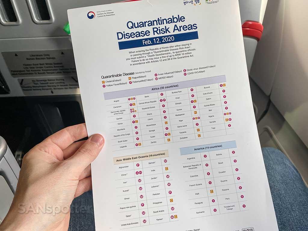 Quarantinable disease risk areas February 2020