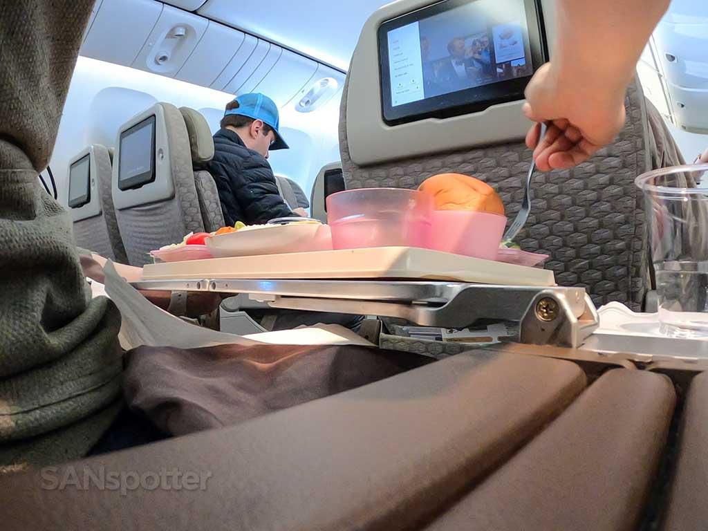 EVA Air Premium Economy dining