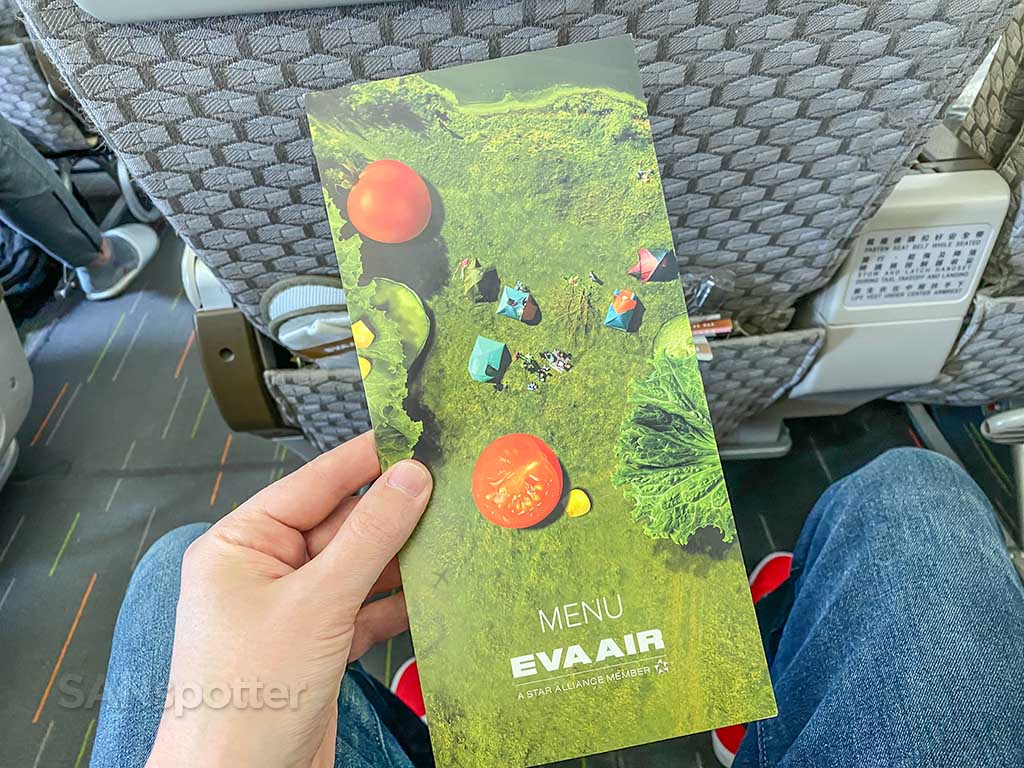 EVA Air Premium Economy menu