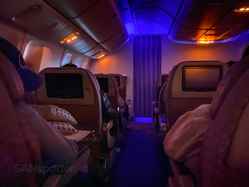 EVA Air Premium Economy mood lighting