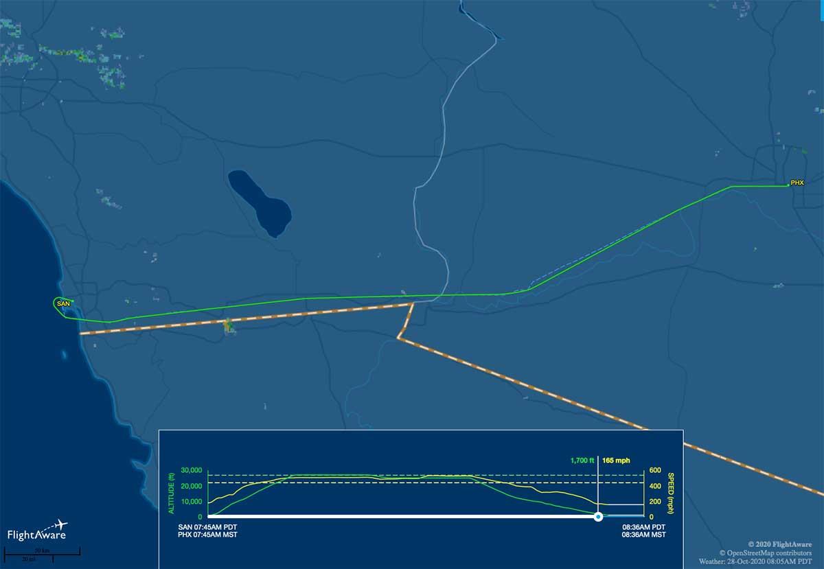 WN2440 flight track