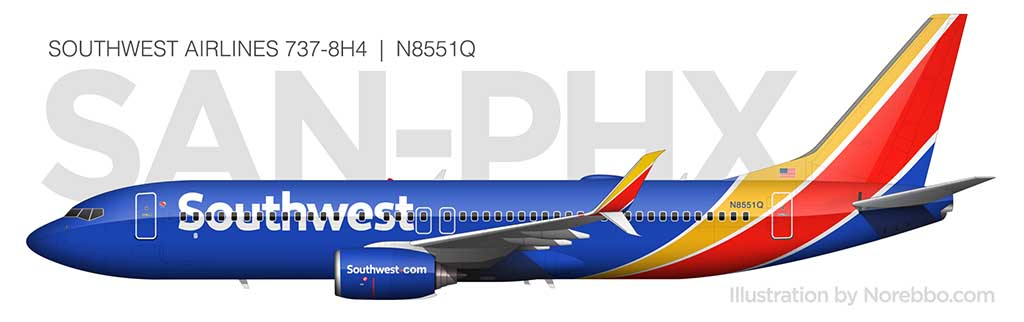 Southwest Airlines 737-800 side view