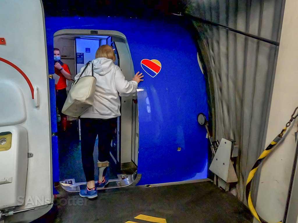 Southwest Airlines 737-800 boarding door