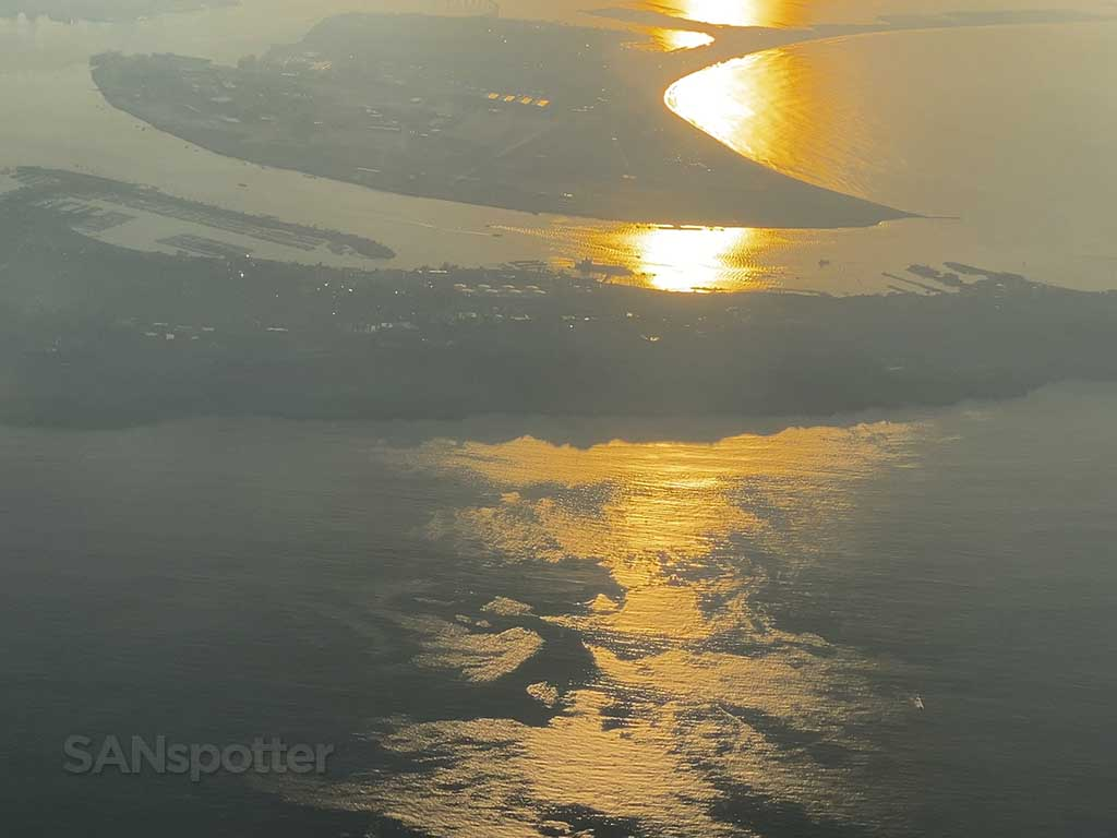 View of San Diego from the air sunrise