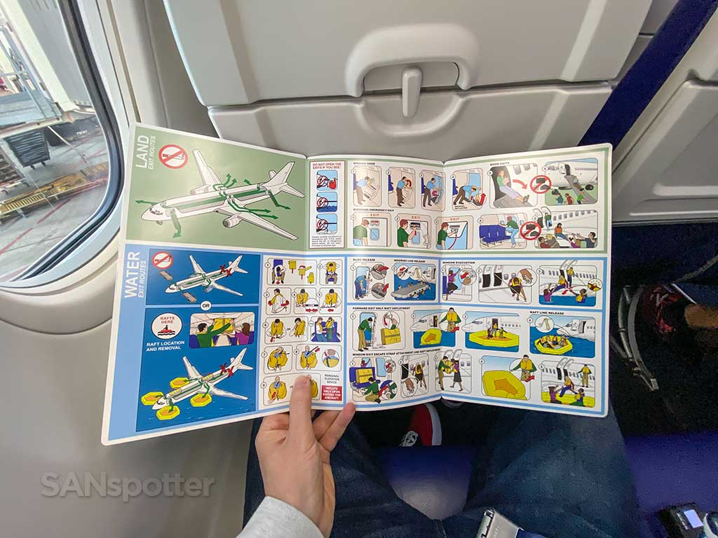 Southwest Airlines 737-800 safety card