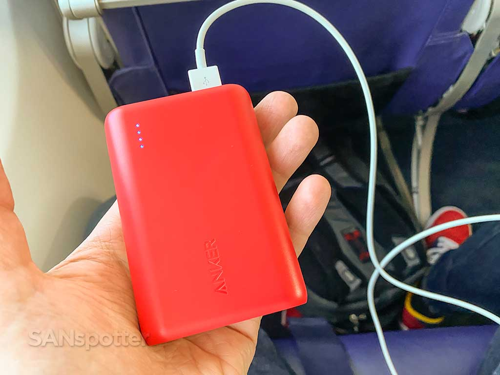 battery pack for charging devices in flight