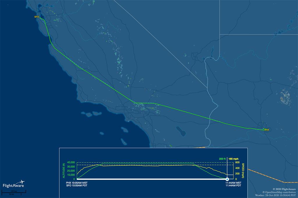 WN1807 flight track