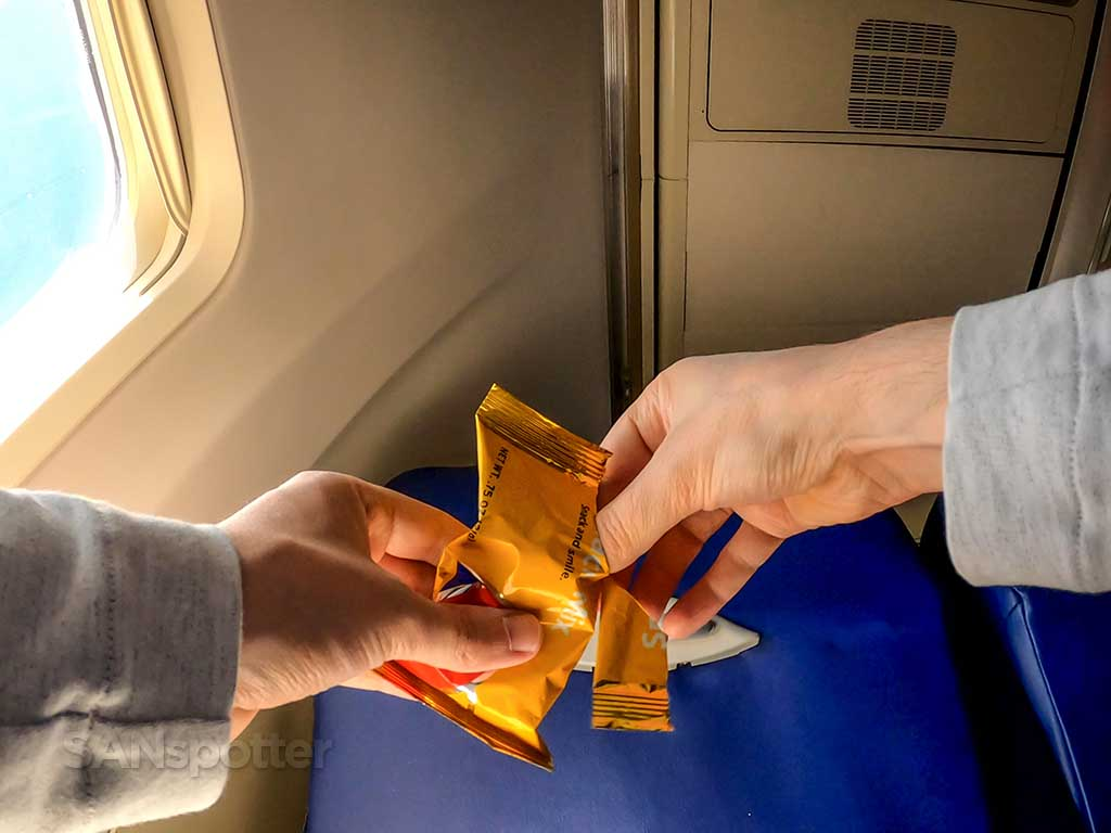 Southwest Airlines yellow snack mix bag