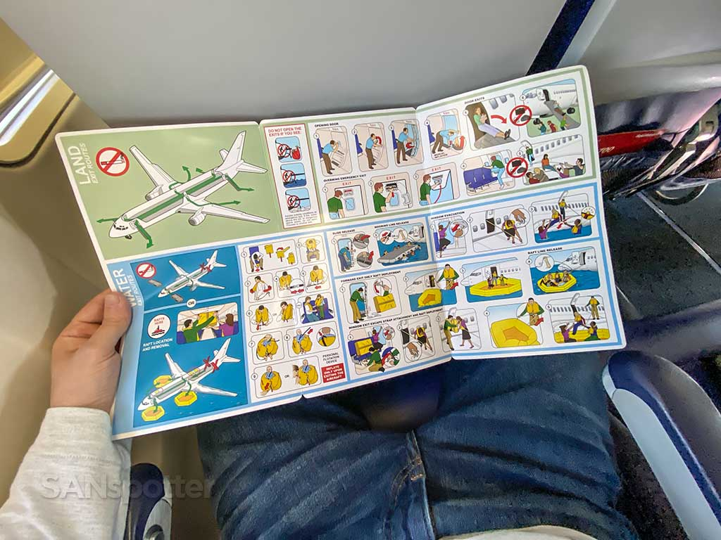 Southwest Airlines 737-700 safety card inside