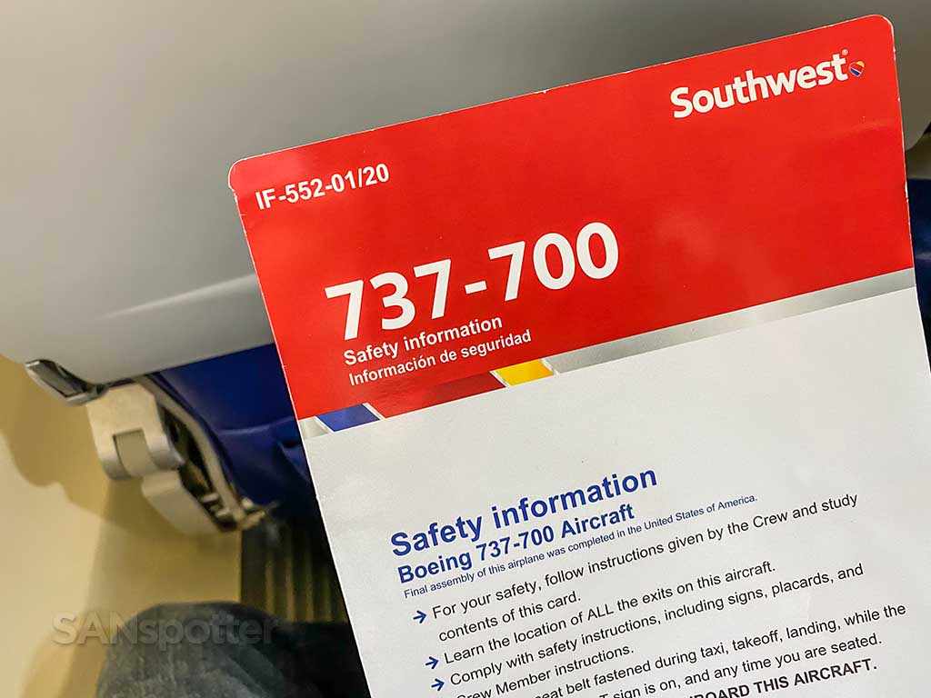 Southwest Airlines 737-700 safety card