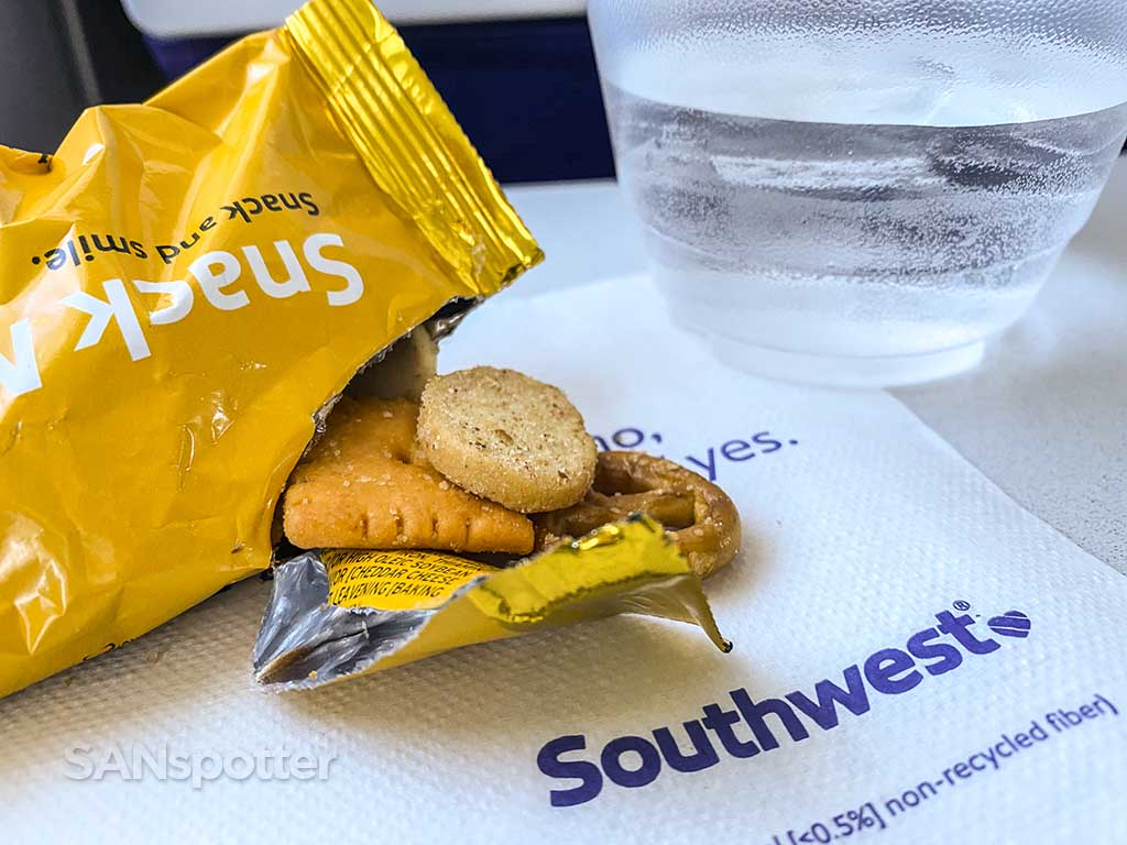 Southwest Airlines snack mix with yellow bag