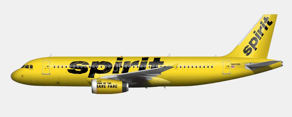 bright yellow spirit airlines livery