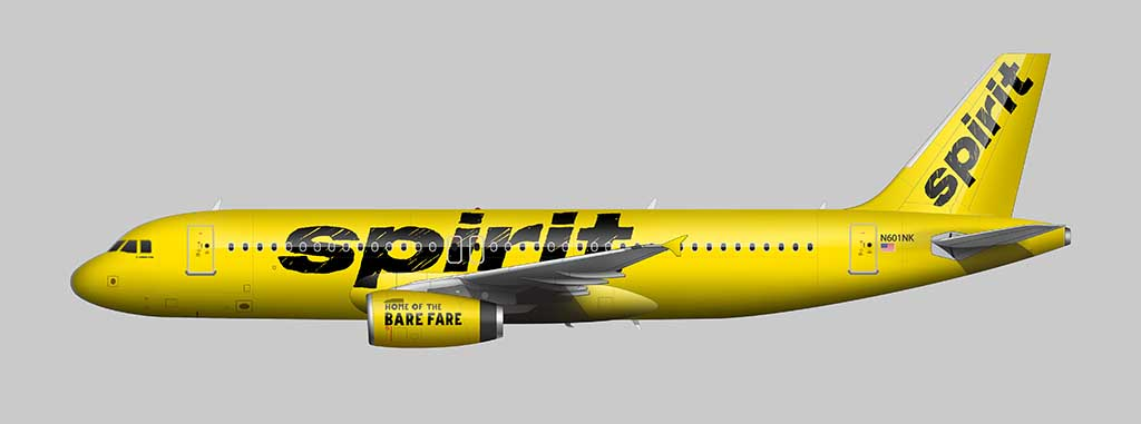 Spirit Airlines livery A320