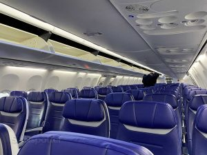 Blue Southwest Airlines seats