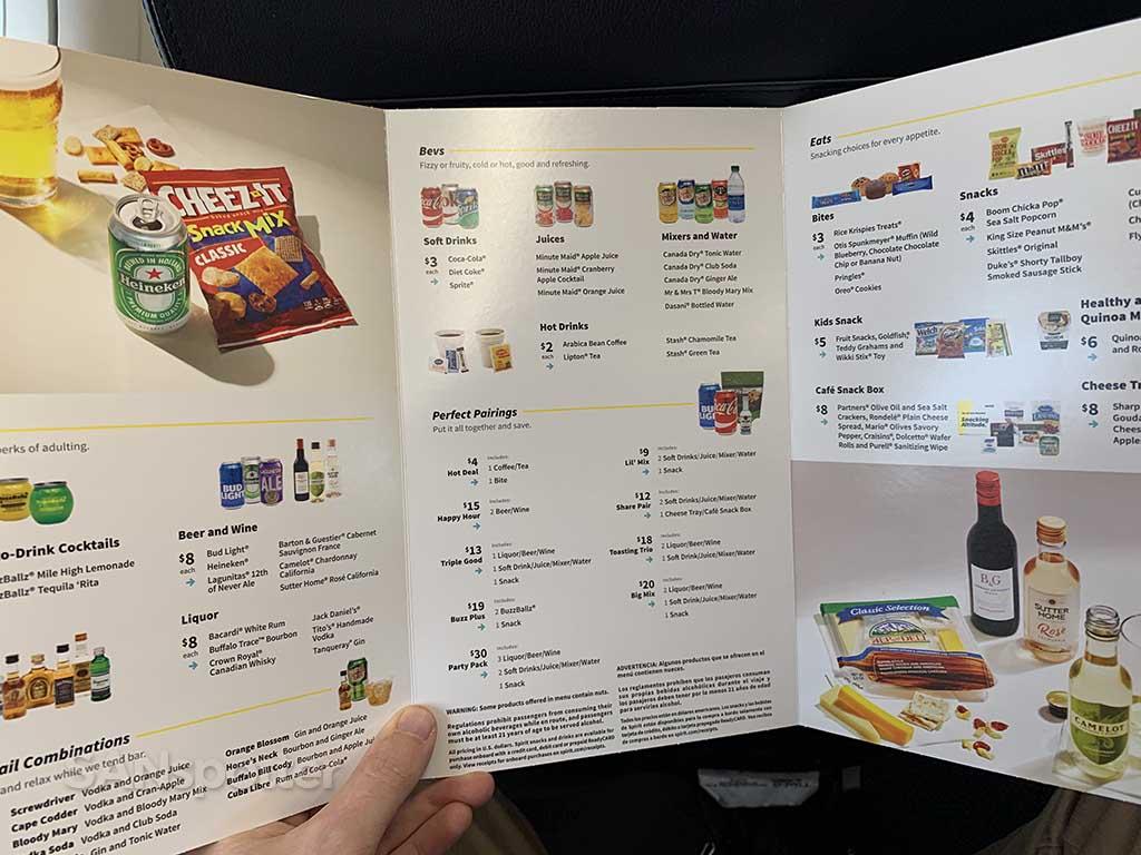spirit airlines full menu