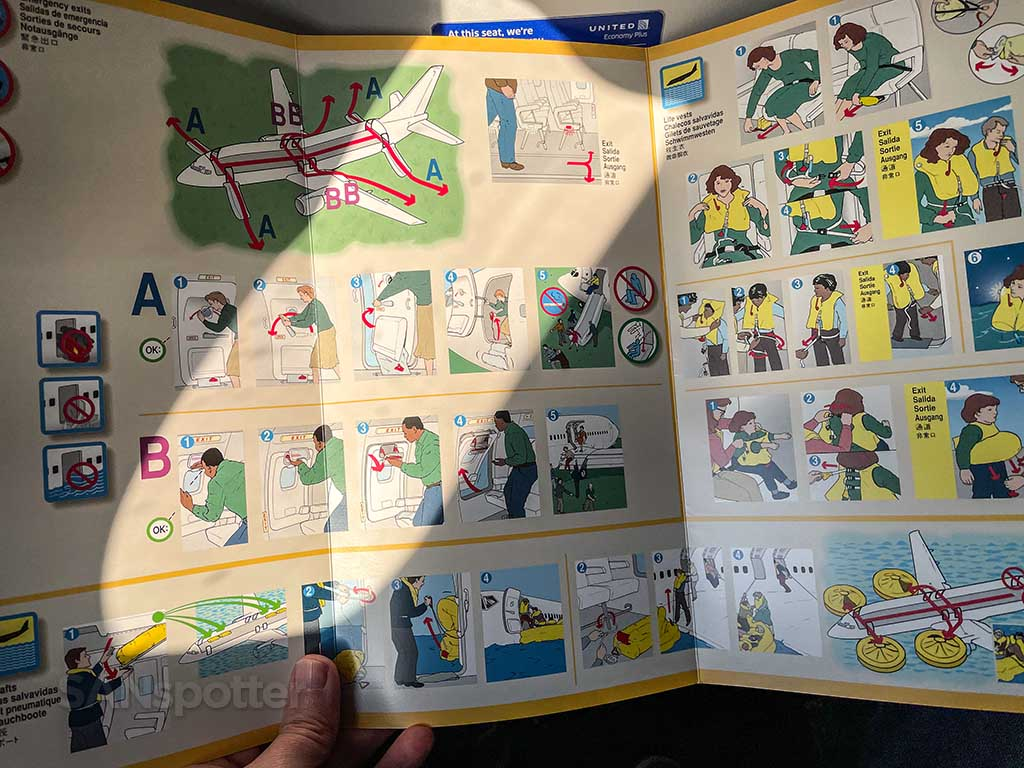 United Airlines 737-9 MAX safety card
