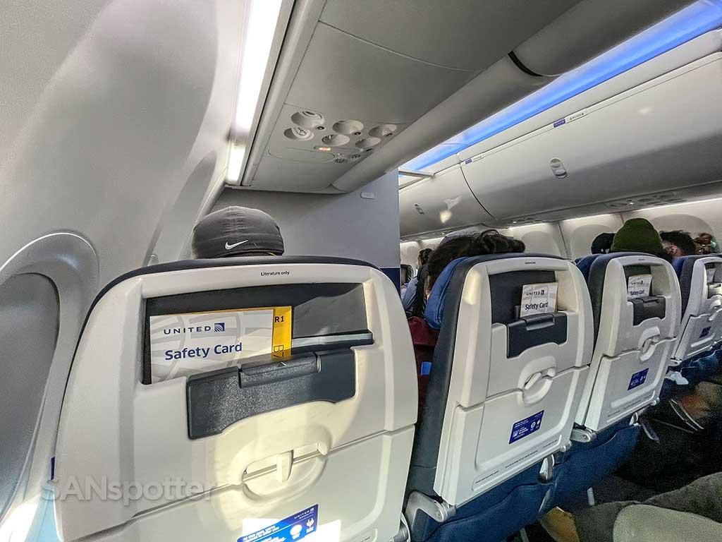 United Airlines 737-9 MAX economy plus seats