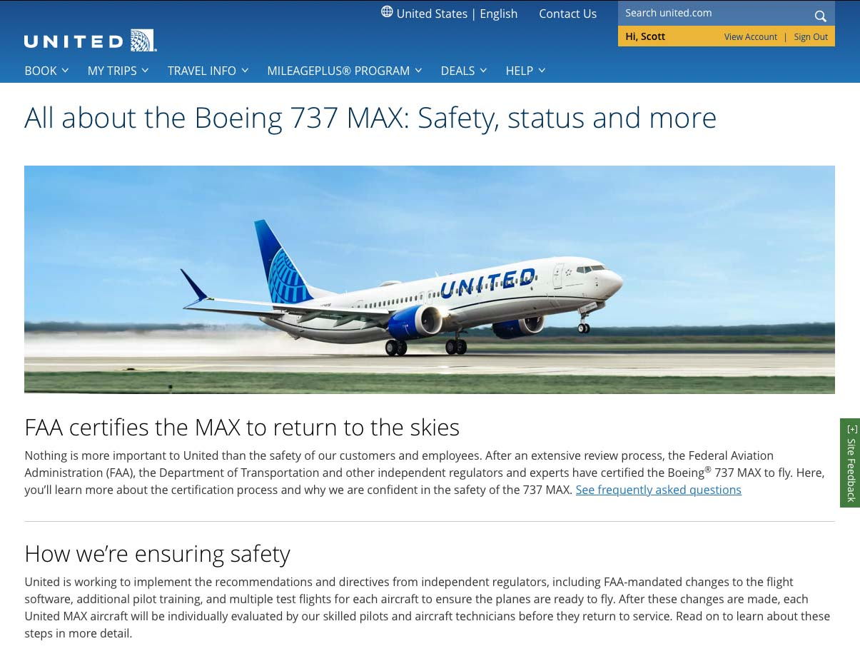 United Airlines 737 MAX resource and information page
