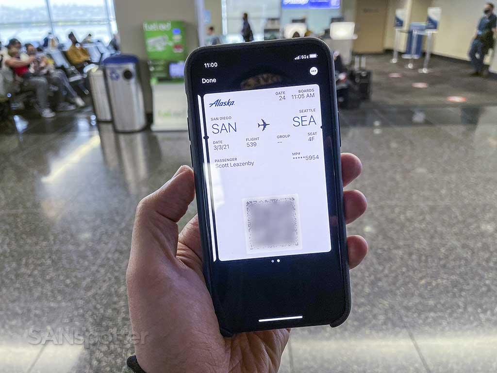 Alaska Airlines mobile boarding pass