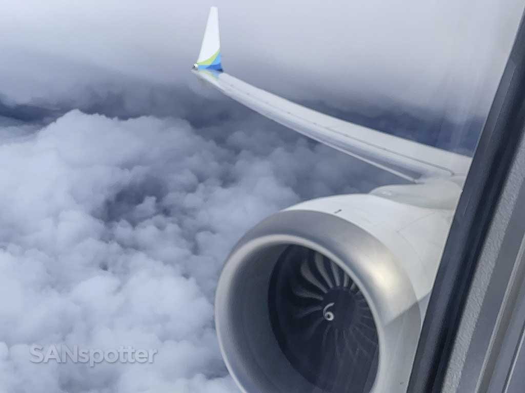 737 max engine and wing view