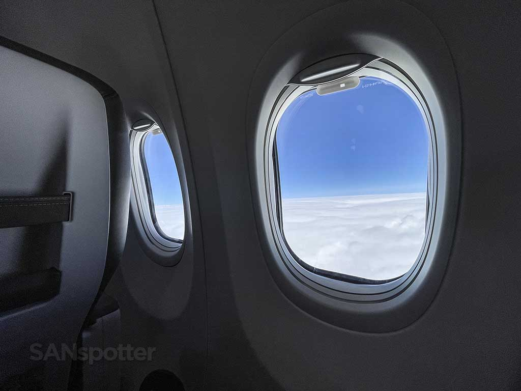 View of clouds from Boeing 737 max window