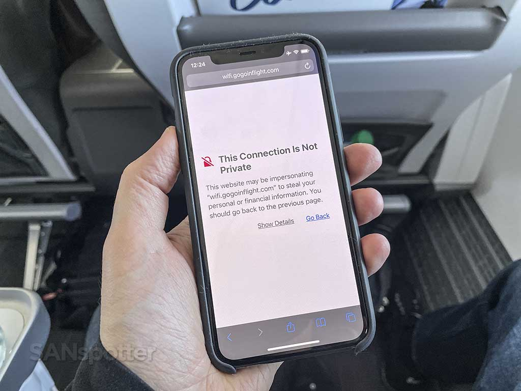 Alaska Airlines streaming content not secure
