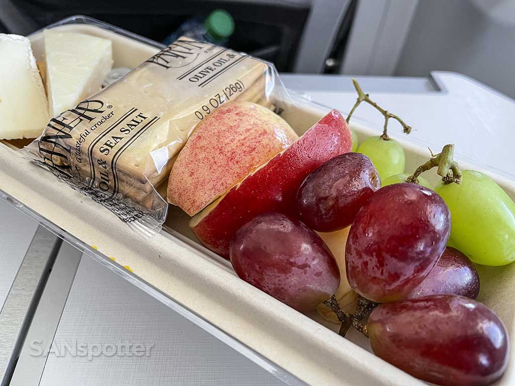 Alaska Airlines fruit and cheese platter review