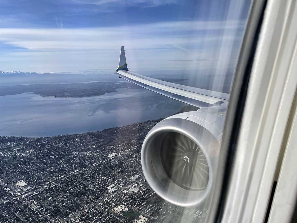 Overflying Seattle downtown