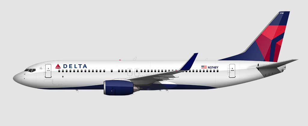 Delta Air Lines livery on the 737-800