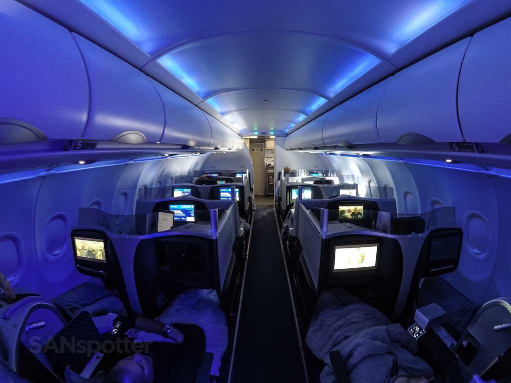 JetBlue Mint blue mood lighting