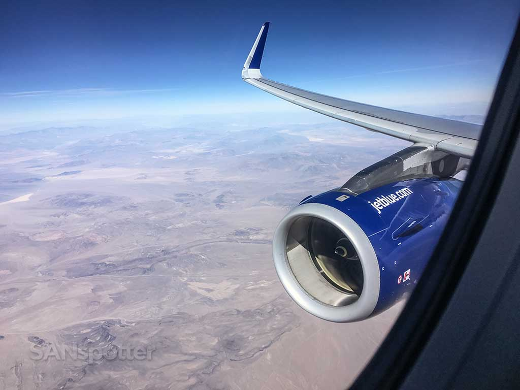 JetBlue wing and engine