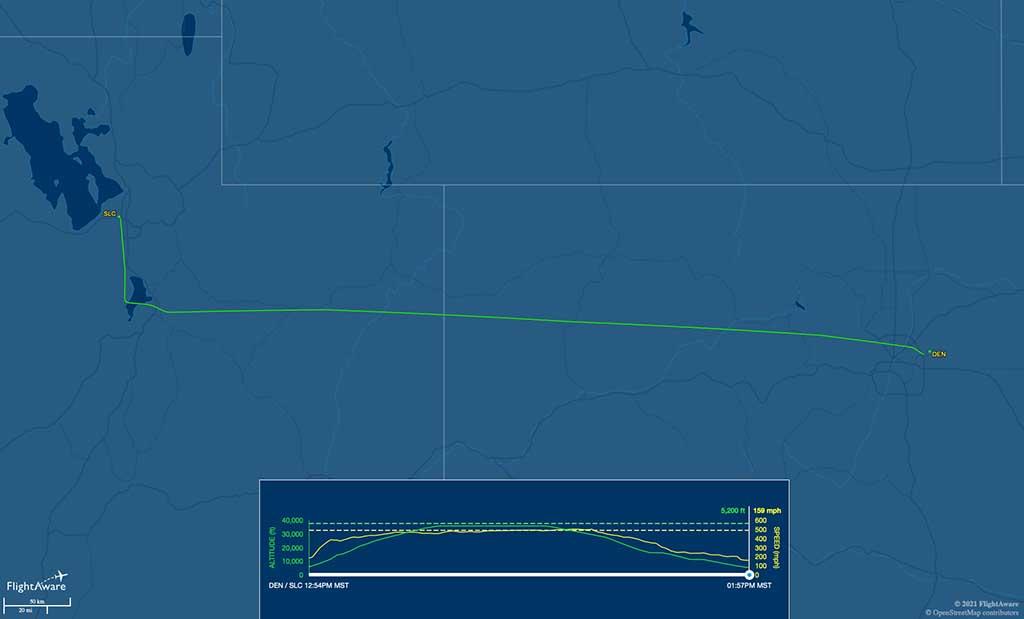 DL1595 flight track