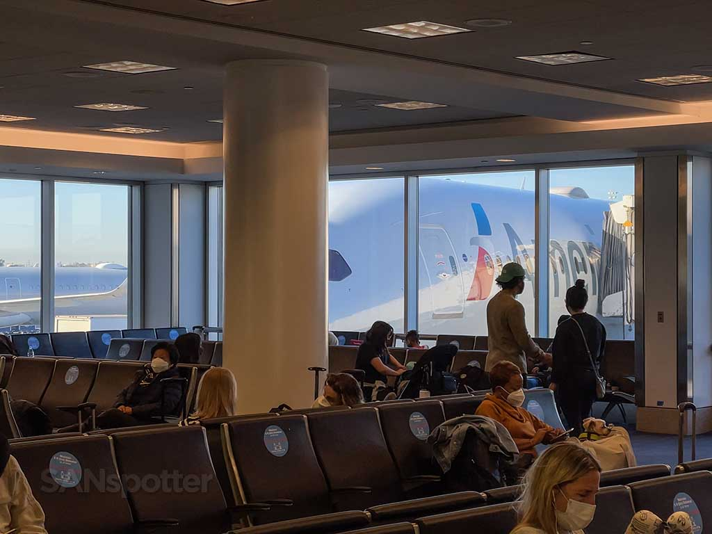 AA 787 at gate Los Angeles international airport