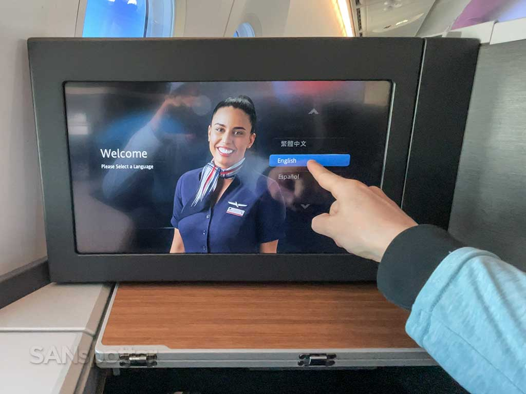 American Airlines 787-9 business class video screen