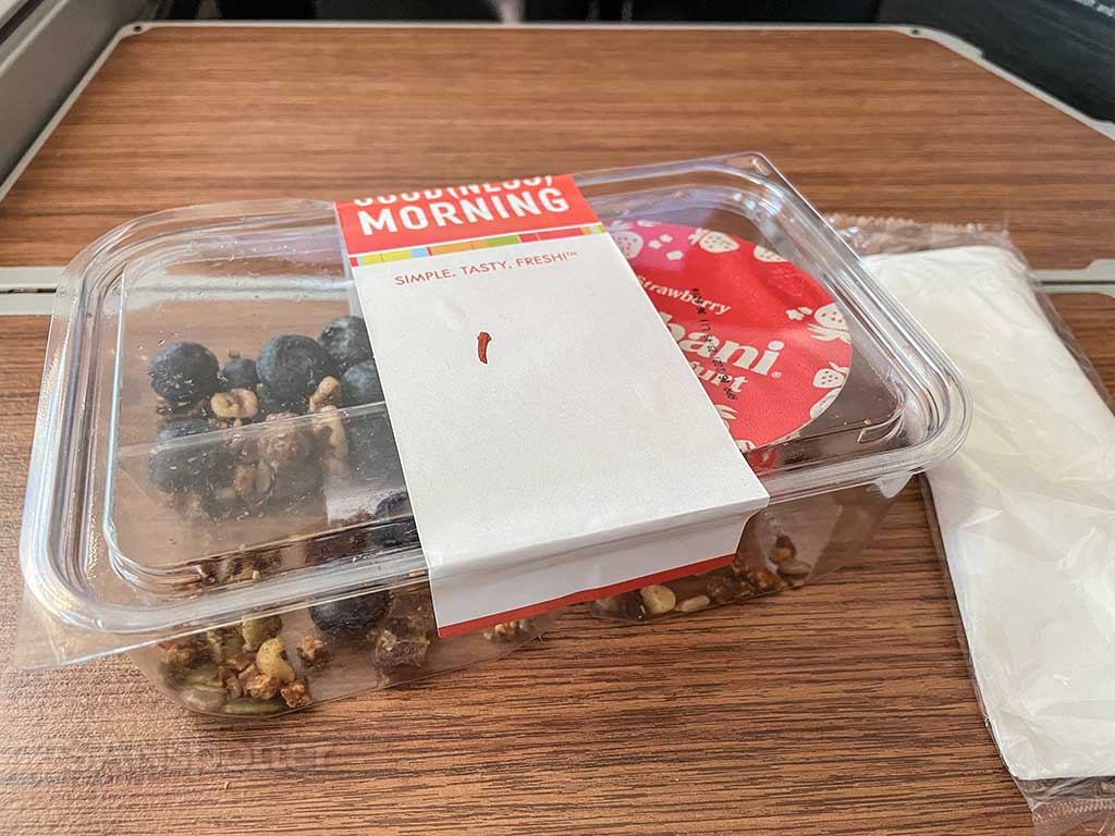 American Airlines first class granola