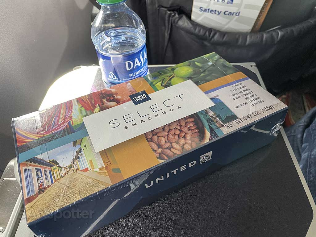 United airlines first class snack box