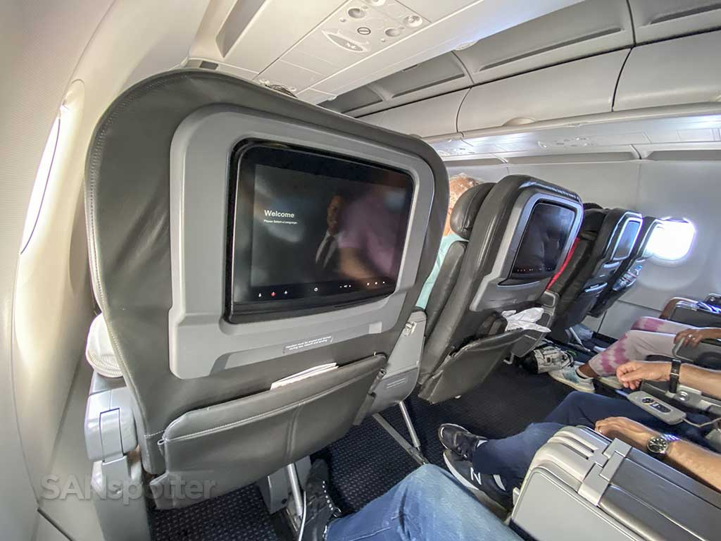 American Airlines domestic first class seats with video screens