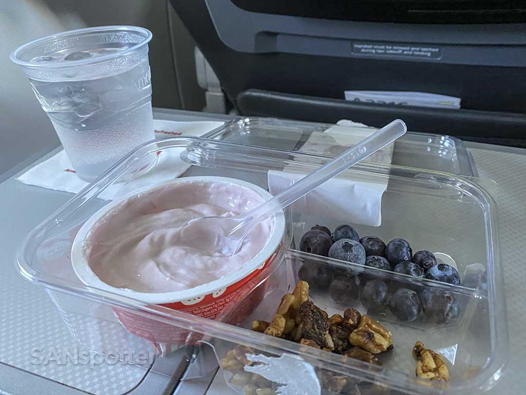 American Airlines breakfast in domestic first class