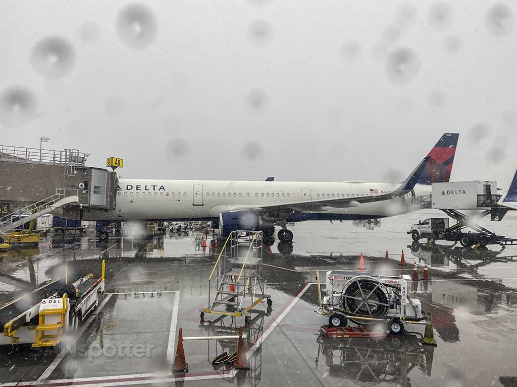 flying with a box as luggage in the rain